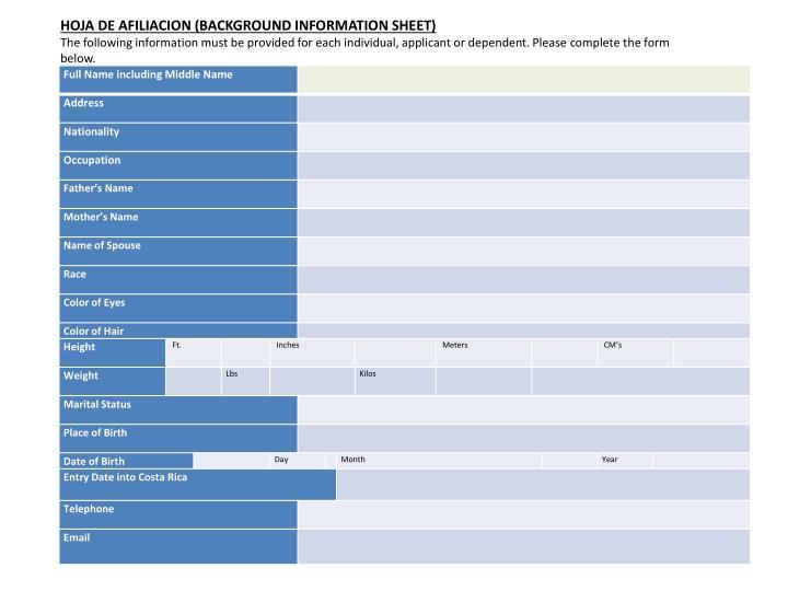 HOJA DE AFILIACION (BACKGROUND INFORMATION SHEET)