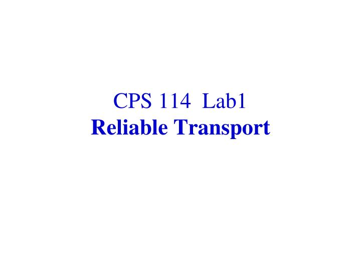 CPS 114  Lab1