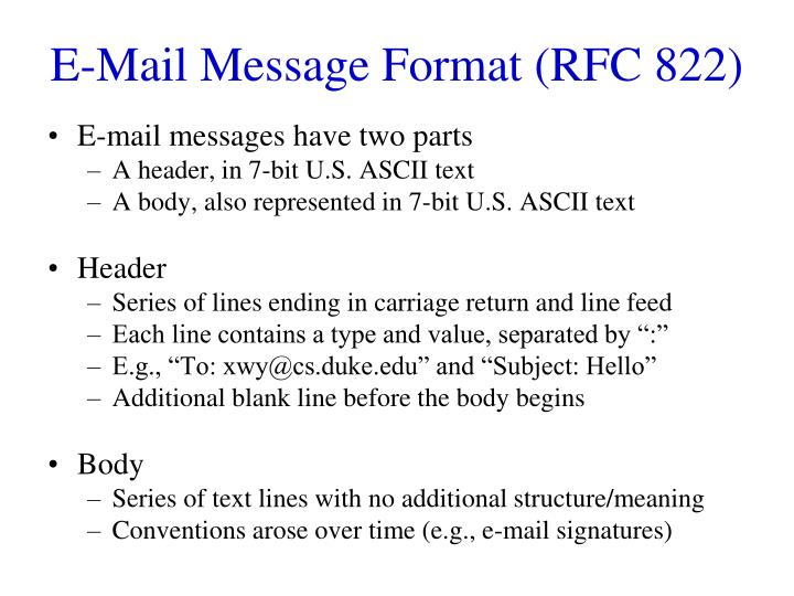 E-Mail Message Format (RFC 822)