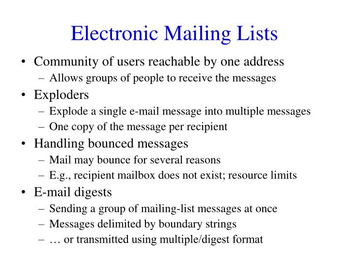 Electronic Mailing Lists