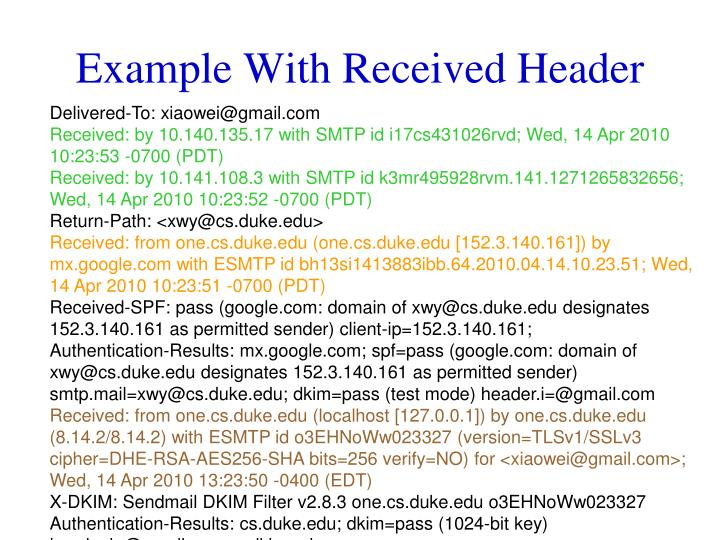 Example With Received Header