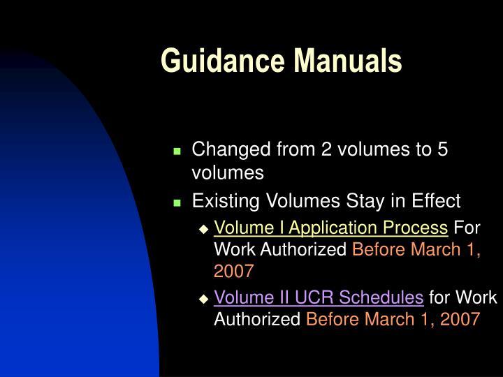 Guidance Manuals