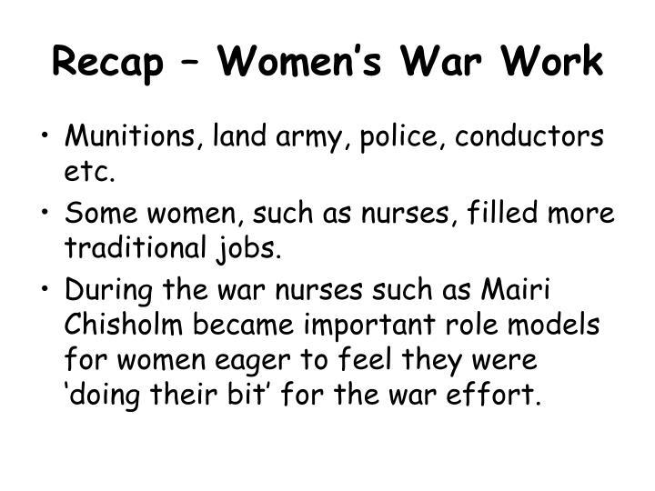 Recap – Women's War Work