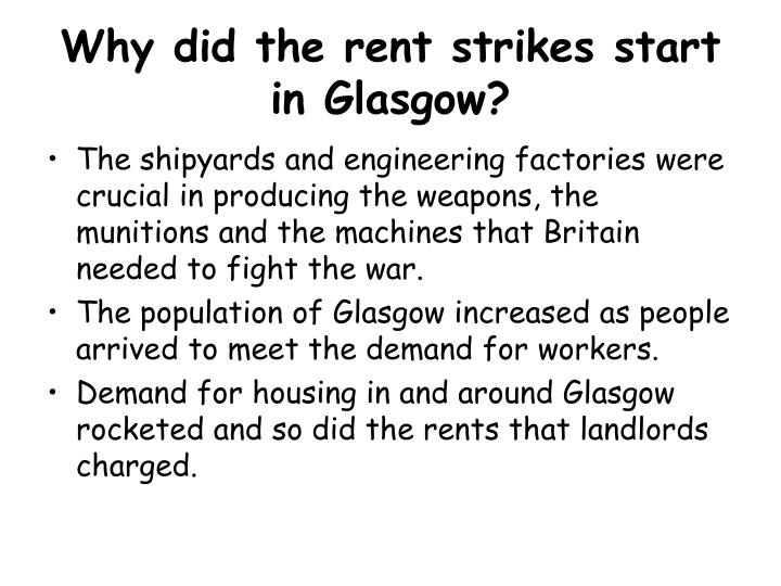 Why did the rent strikes start in Glasgow?