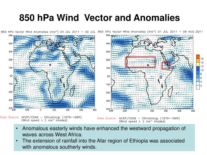 850 hPa Wind  Vector and Anomalies