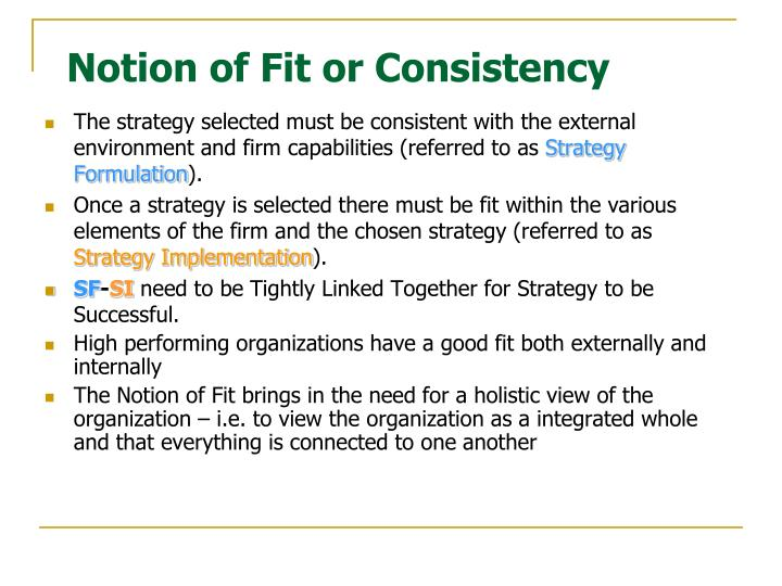 Notion of fit or consistency