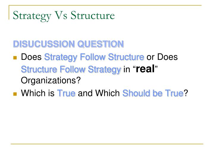 Strategy Vs Structure
