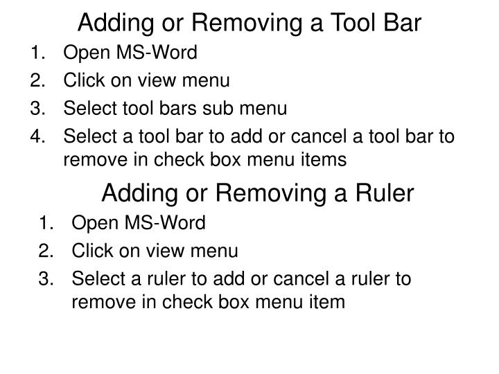Adding or Removing a Tool Bar