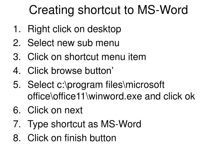 Creating shortcut to MS-Word