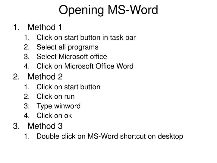 Opening MS-Word