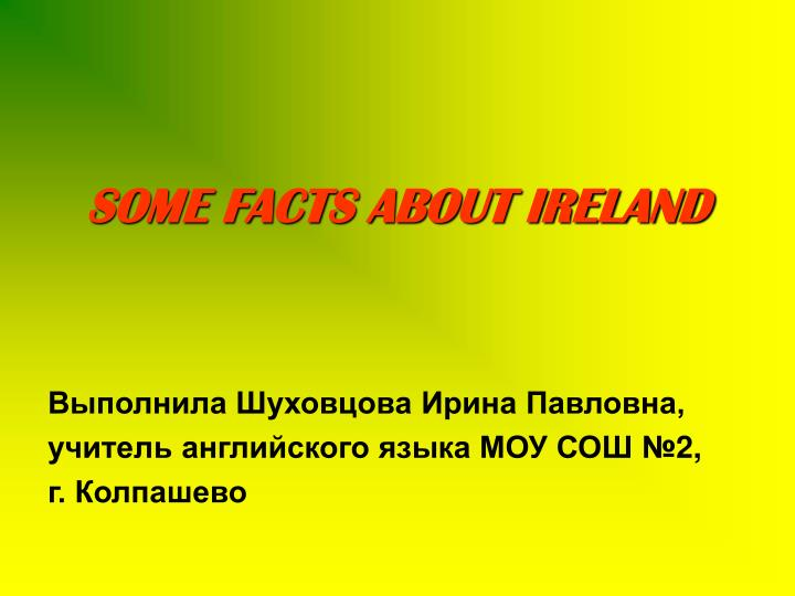 Some facts about ireland