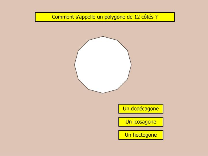 Comment s'appelle un polygone de 12 côtés ?