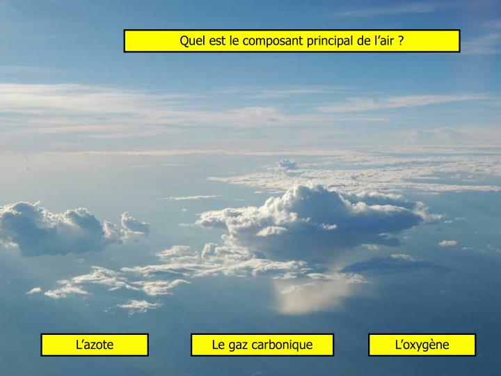 Quel est le composant principal de l'air ?