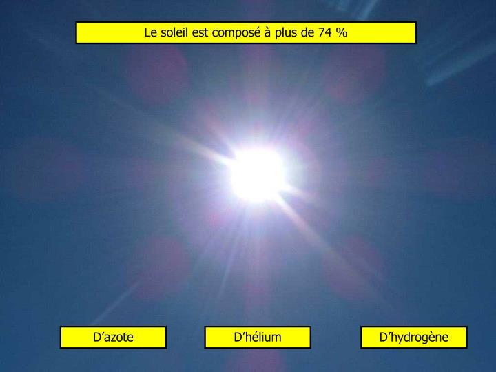 Le soleil est composé à plus de 74 %