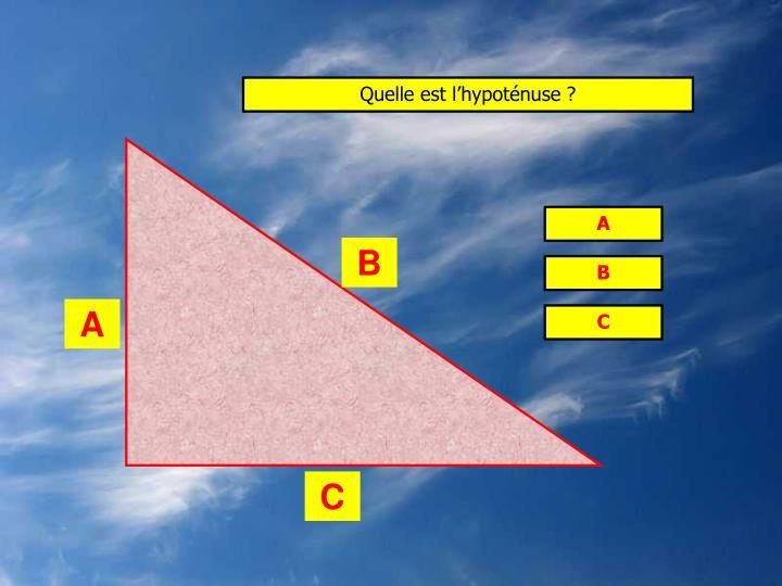 Quelle est l'hypoténuse ?