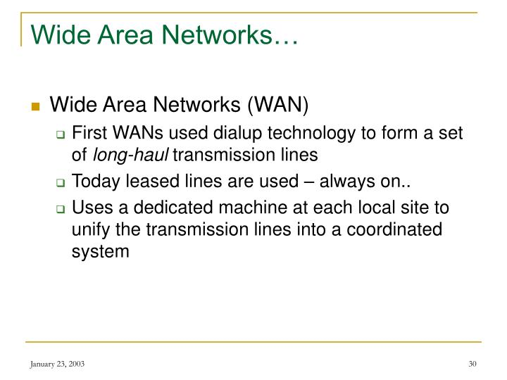 Wide Area Networks…