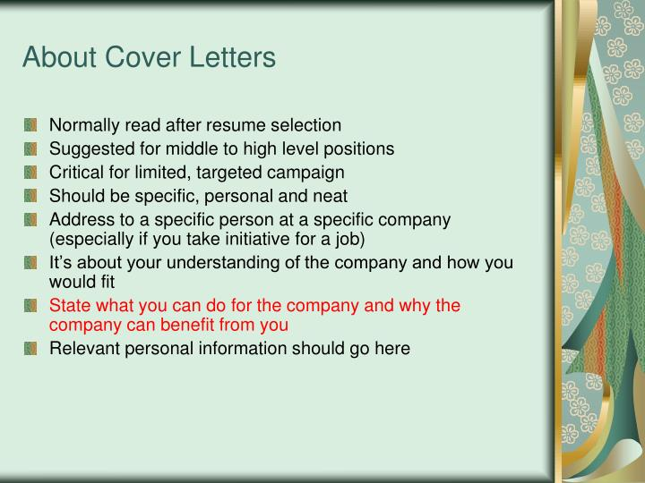 About Cover Letters