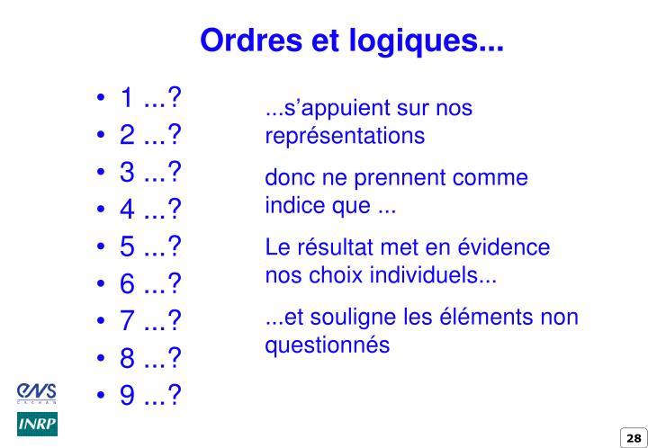 Ordres et logiques...