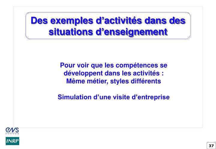 Des exemples d'activités dans des situations d'enseignement