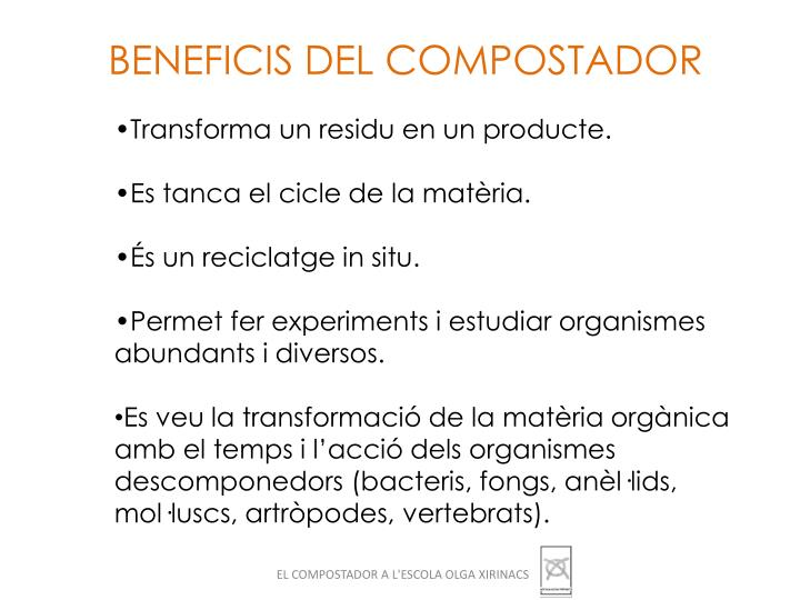 BENEFICIS DEL COMPOSTADOR
