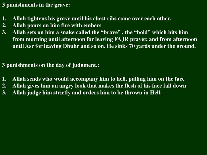 3 punishments in the grave: