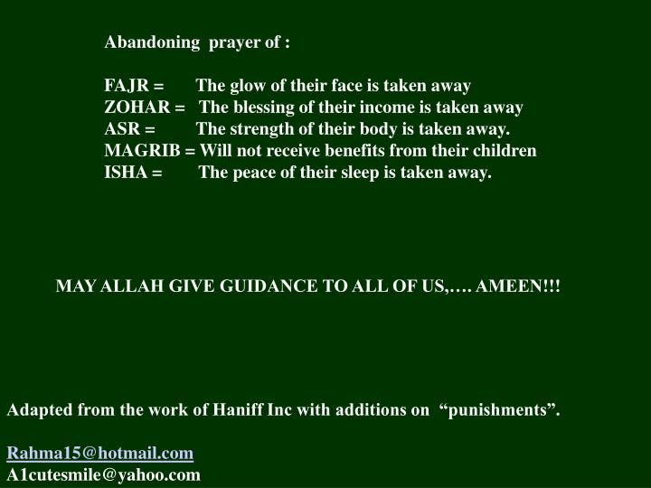 Abandoning  prayer of :