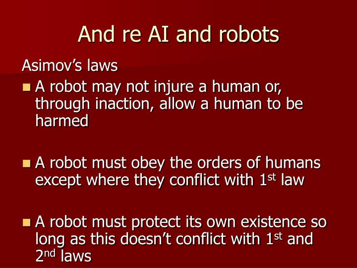 And re AI and robots