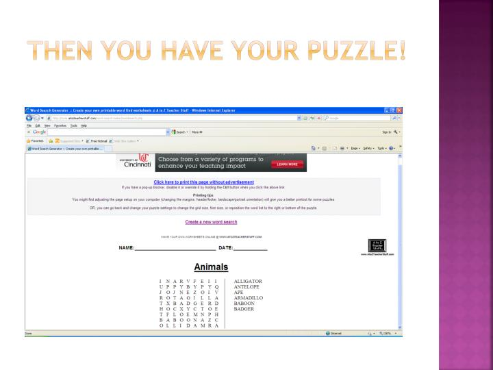 Then you have your puzzle!