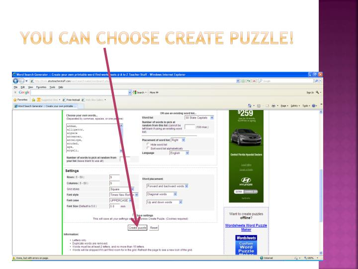 You can choose create puzzle!
