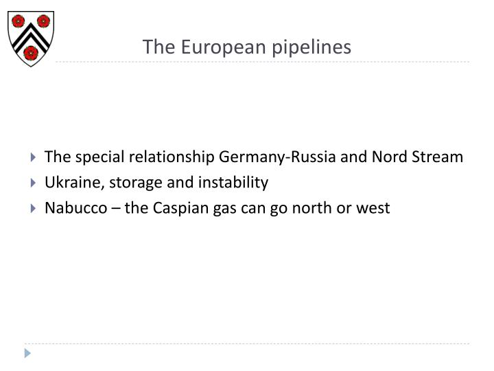 The European pipelines