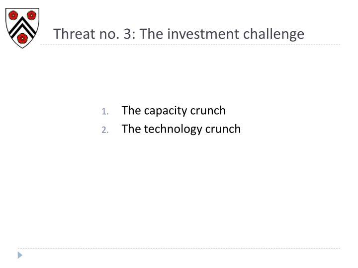 Threat no. 3: The investment challenge