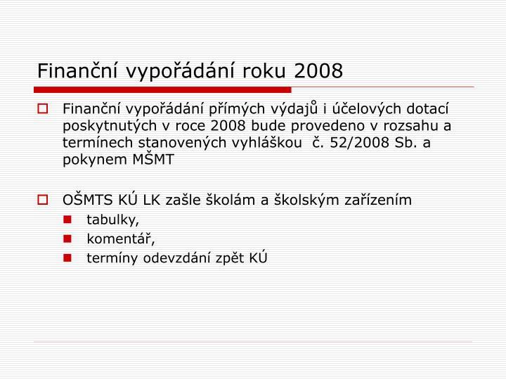 Finanční vypořádání roku 2008