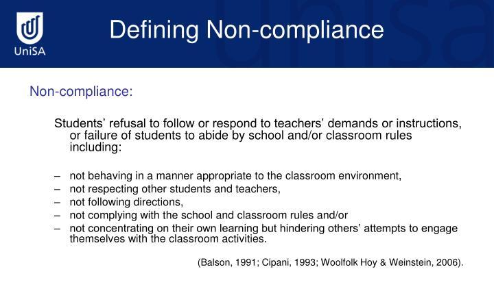 Non-compliance: