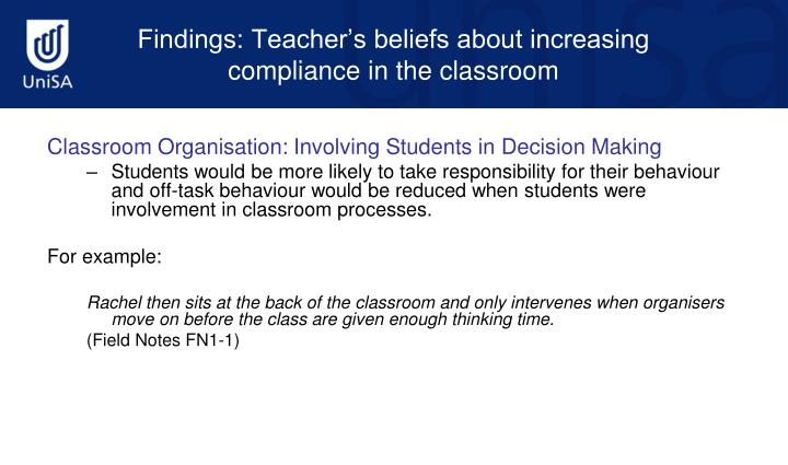 Classroom Organisation: Involving Students in Decision Making