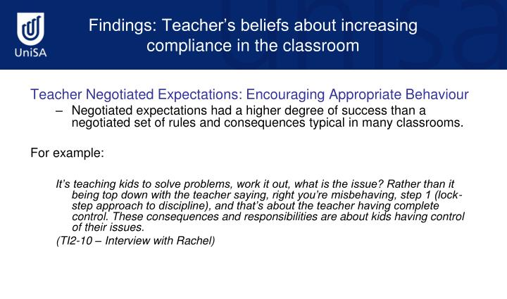 Teacher Negotiated Expectations: Encouraging Appropriate Behaviour