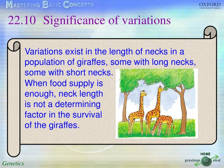22.10Significance of variations
