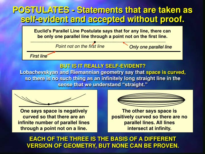 POSTULATES - Statements that are taken as