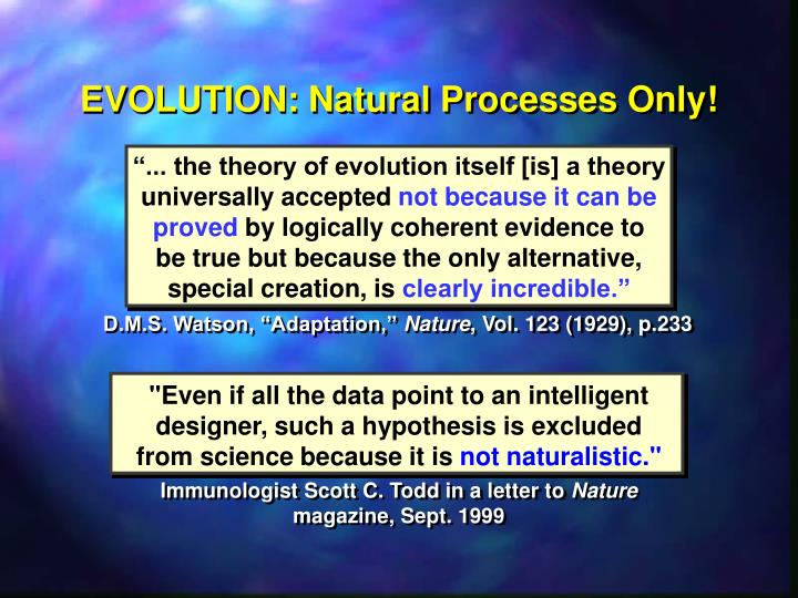 EVOLUTION: Natural Processes Only!