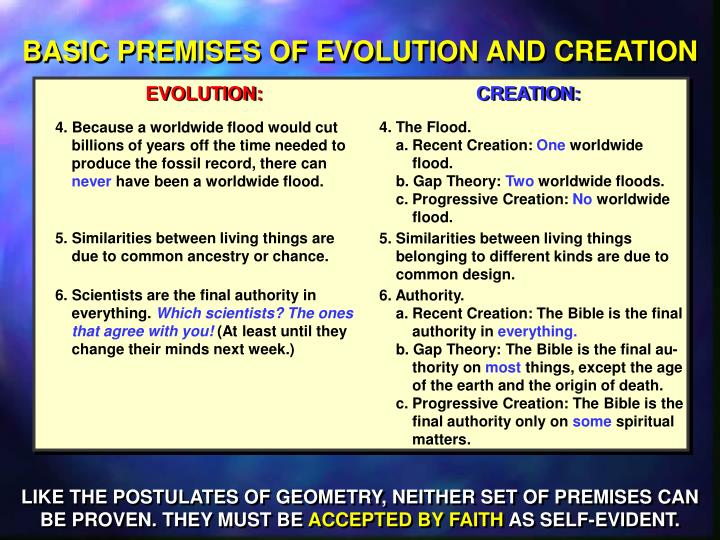 BASIC PREMISES OF EVOLUTION AND CREATION