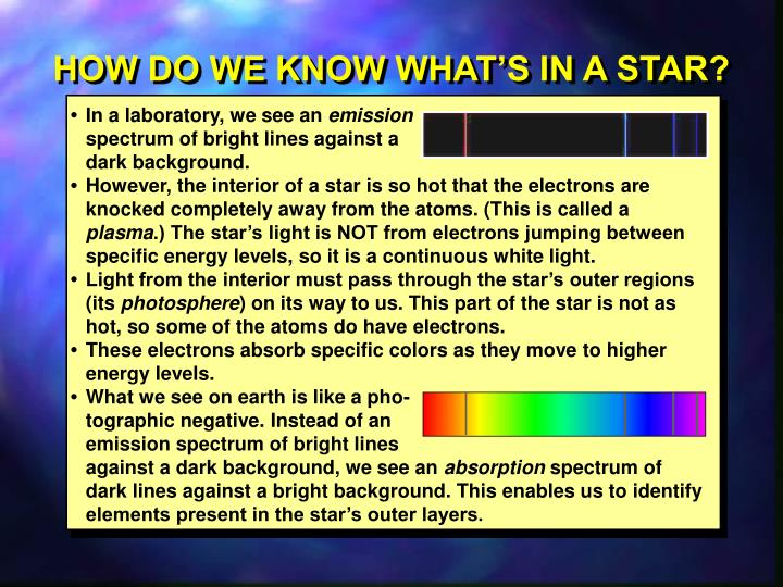 HOW DO WE KNOW WHAT'S IN A STAR?