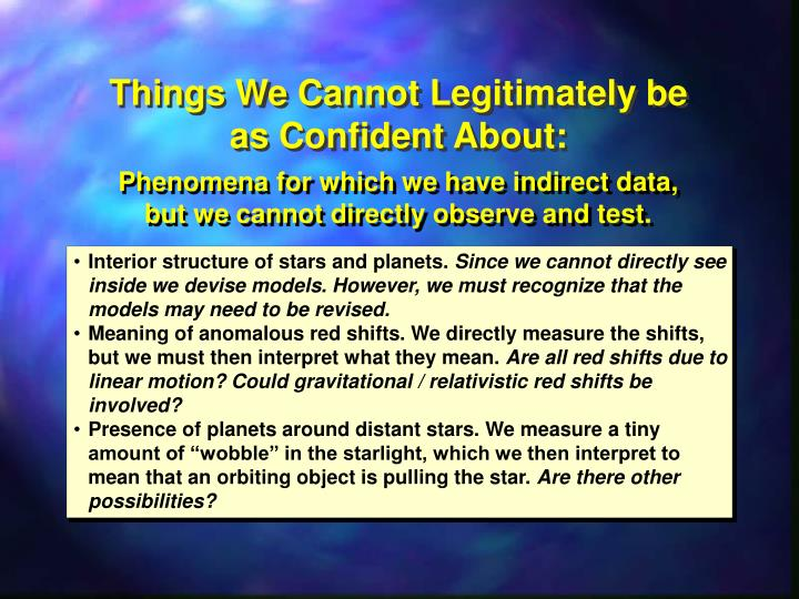 Things We Cannot Legitimately be as Confident About:
