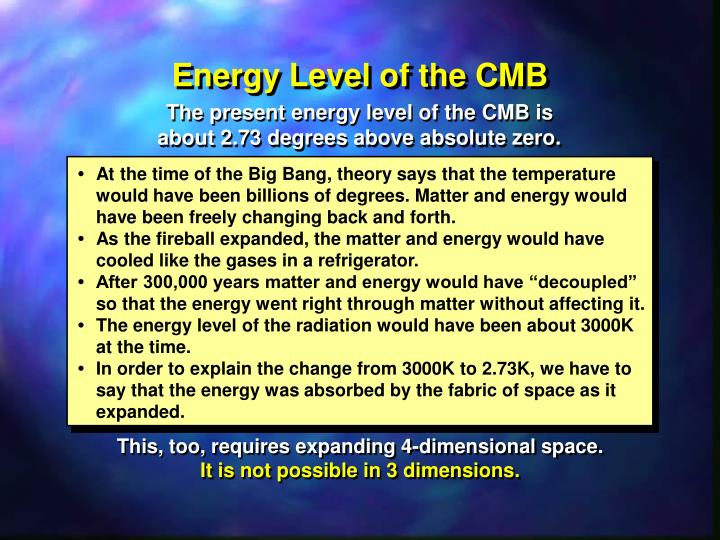 Energy Level of the CMB
