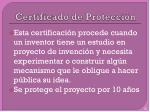 certificado de protecci n