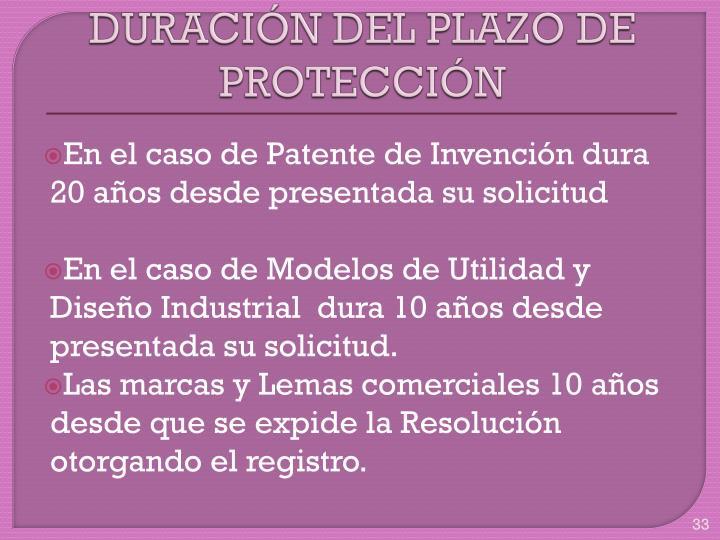 DURACIÓN DEL PLAZO DE PROTECCIÓN