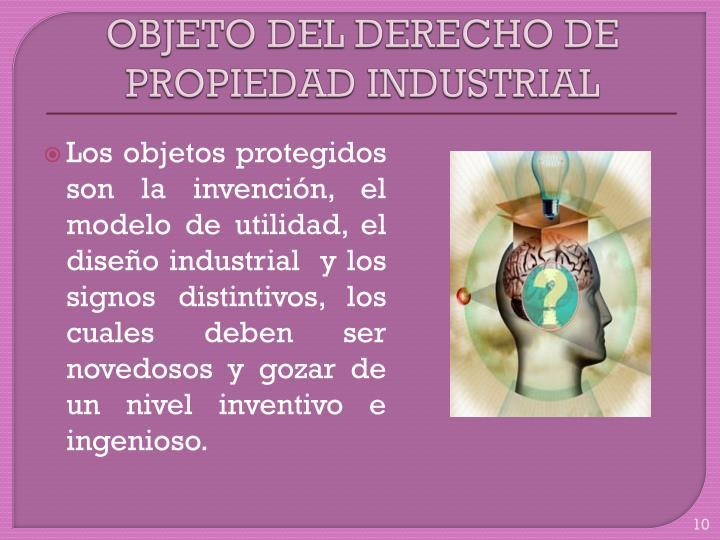 OBJETO DEL DERECHO DE PROPIEDAD INDUSTRIAL