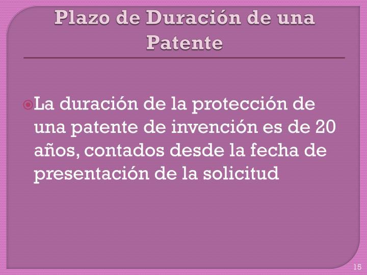 Plazo de Duración de una Patente