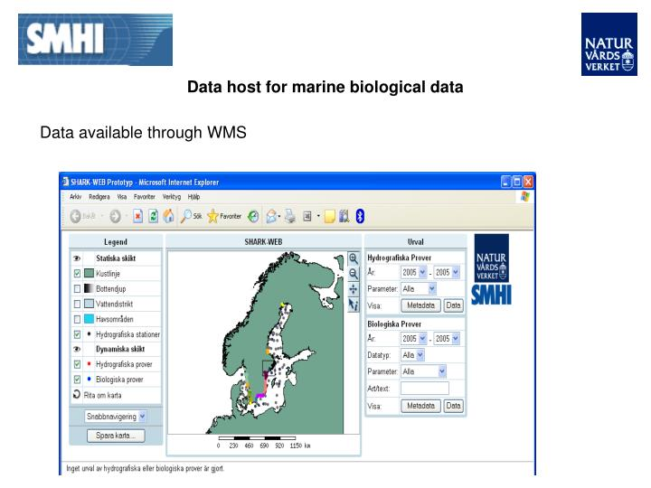 Data host for marine biological data