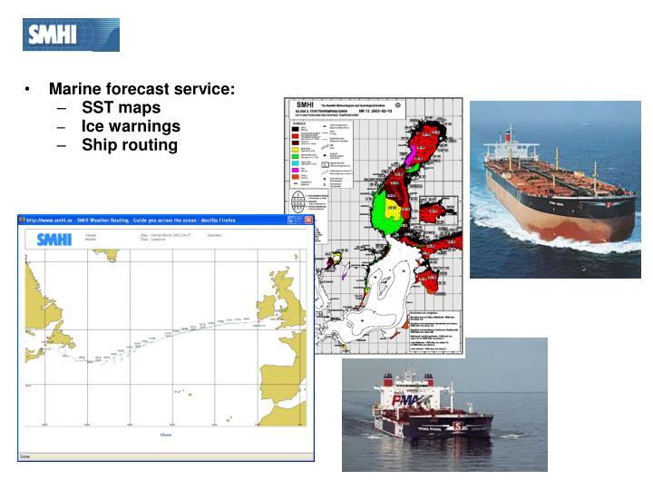 Marine forecast service: