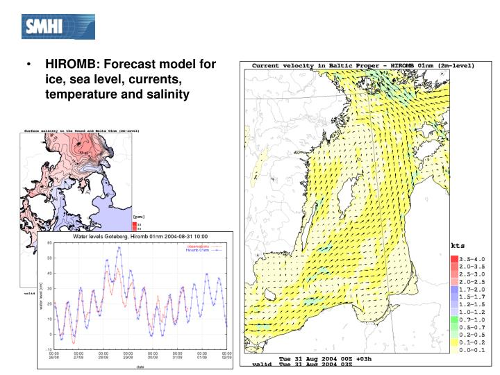 HIROMB: Forecast model for ice, sea level, currents, temperature and salinity