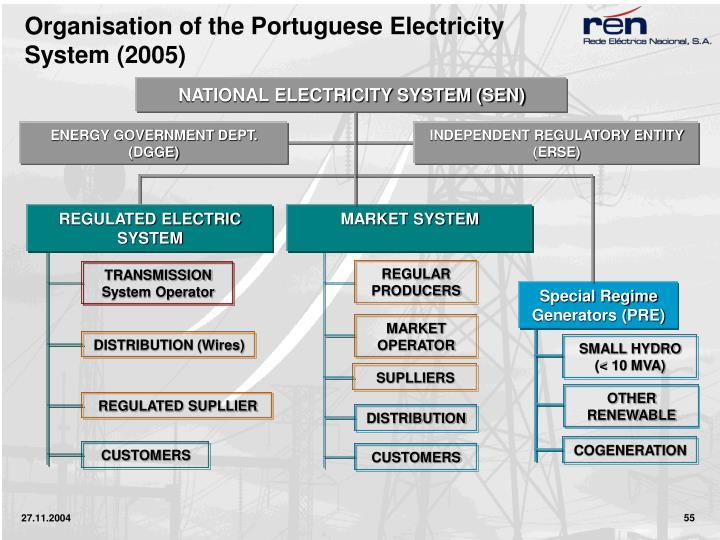 Organisation of the Portuguese Electricity System (2005)